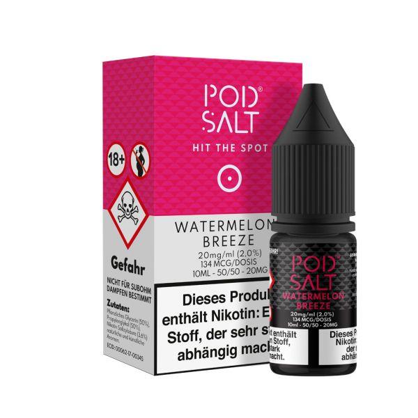 PodSalt - Watermelon Breeze NicSalt Liquid 10ml 20mg/ml