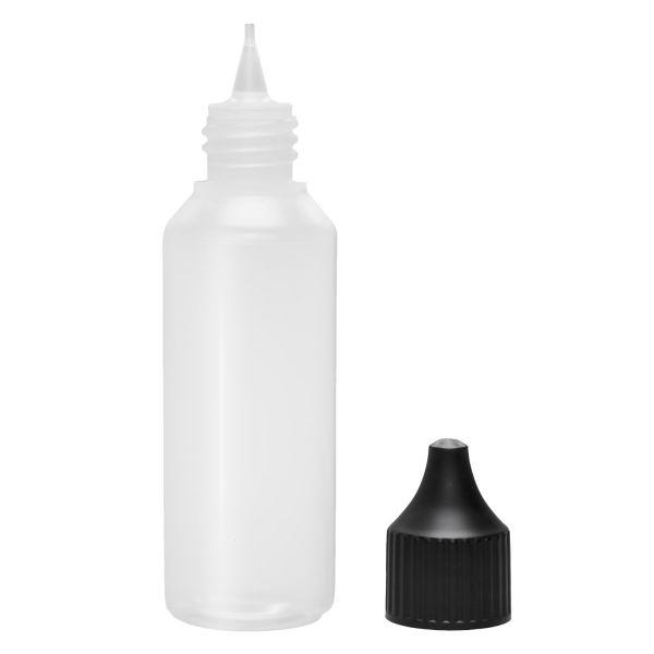 Liquid Flasche 50ml Rund mit Spitze und Deckel