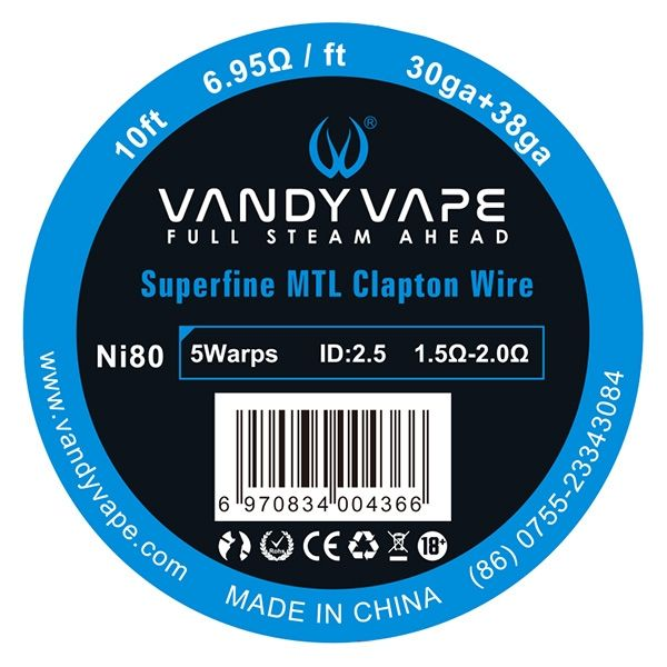 Vandy Vape - Ni80 Superfine MTL Fused Clapton 3 Meter